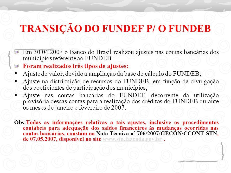 TRANSIÇÃO DO FUNDEF P/ O FUNDEB Em 30.04.2007 o Banco do Brasil realizou ajustes nas contas bancárias dos municípios referente ao FUNDEB. Foram realiz