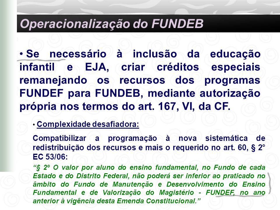Se necessário à inclusão da educação infantil e EJA, criar créditos especiais remanejando os recursos dos programas FUNDEF para FUNDEB, mediante autor