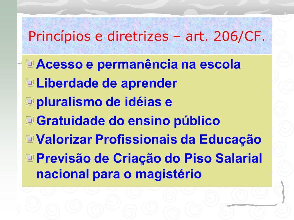 Princípios e diretrizes – art. 206/CF. Acesso e permanência na escola Liberdade de aprender pluralismo de idéias e Gratuidade do ensino público Valori