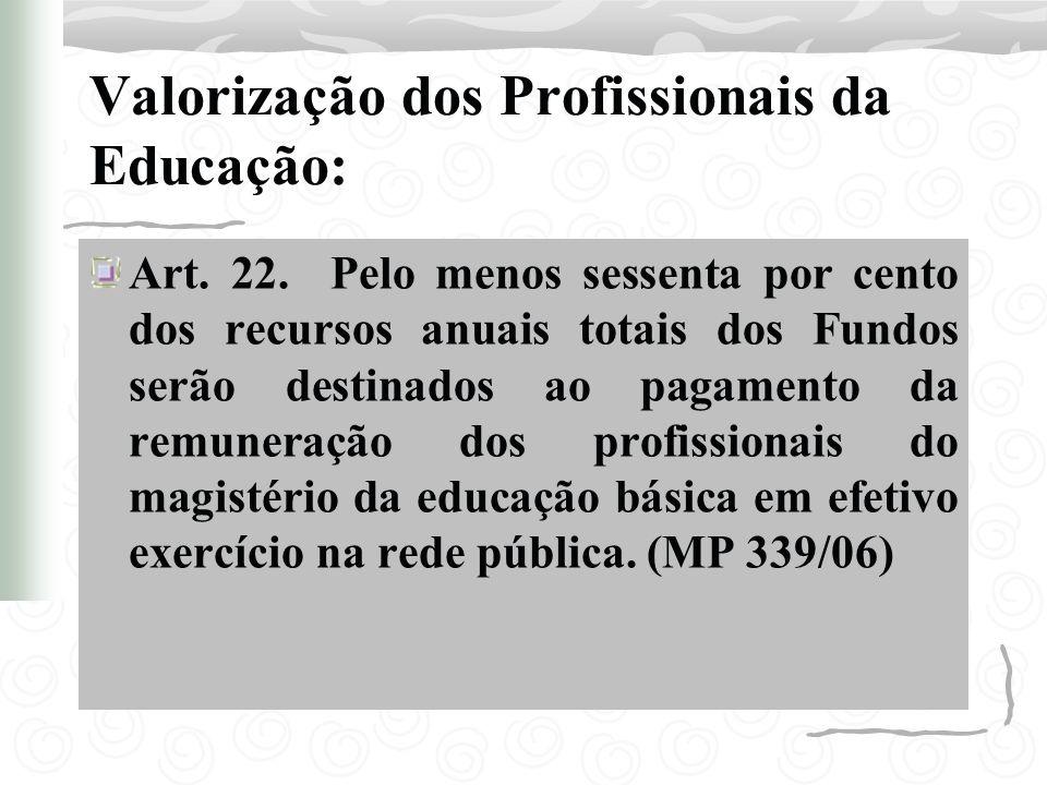 Valorização dos Profissionais da Educação: Art. 22. Pelo menos sessenta por cento dos recursos anuais totais dos Fundos serão destinados ao pagamento