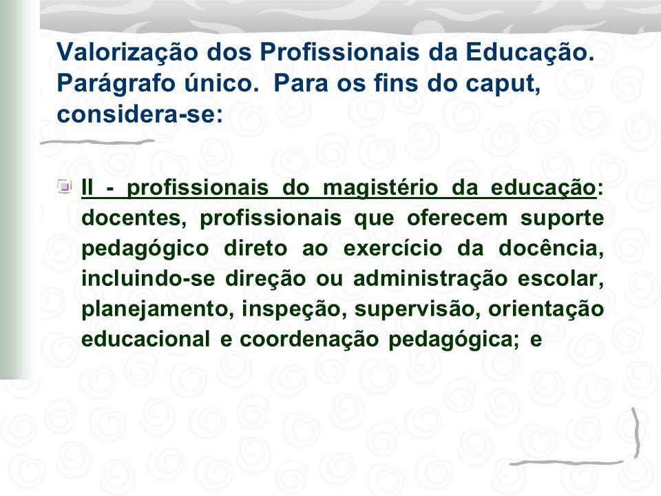 Valorização dos Profissionais da Educação. Parágrafo único. Para os fins do caput, considera-se: II - profissionais do magistério da educação: docente