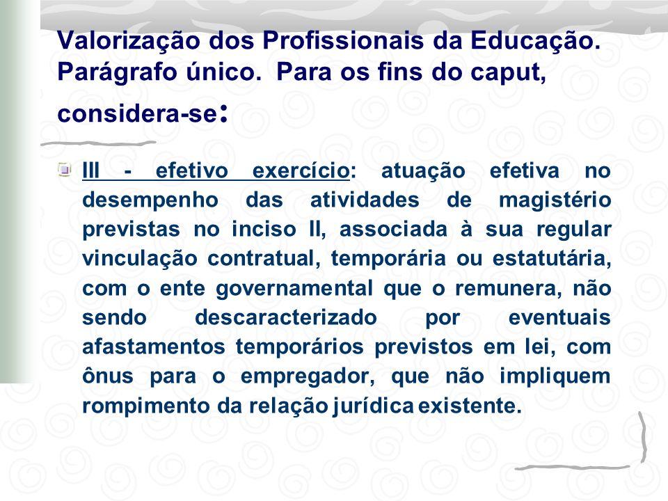 III - efetivo exercício: atuação efetiva no desempenho das atividades de magistério previstas no inciso II, associada à sua regular vinculação contrat