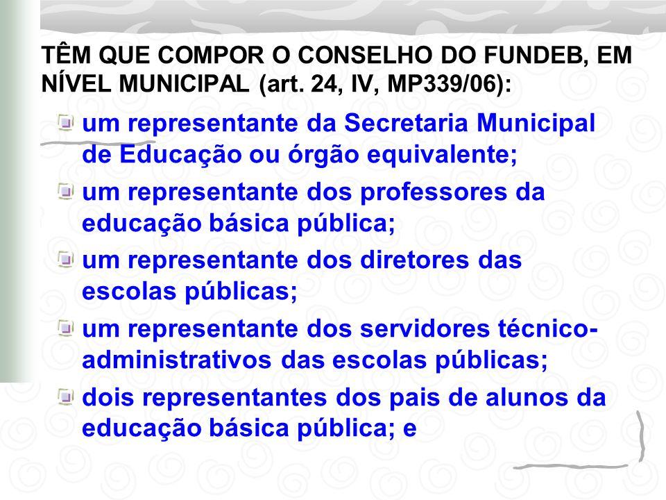 um representante da Secretaria Municipal de Educação ou órgão equivalente; um representante dos professores da educação básica pública; um representan