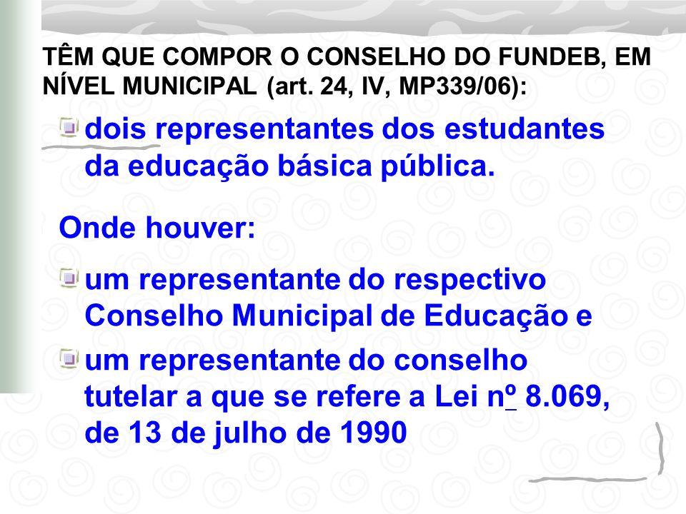 dois representantes dos estudantes da educação básica pública. Onde houver: um representante do respectivo Conselho Municipal de Educação e um represe