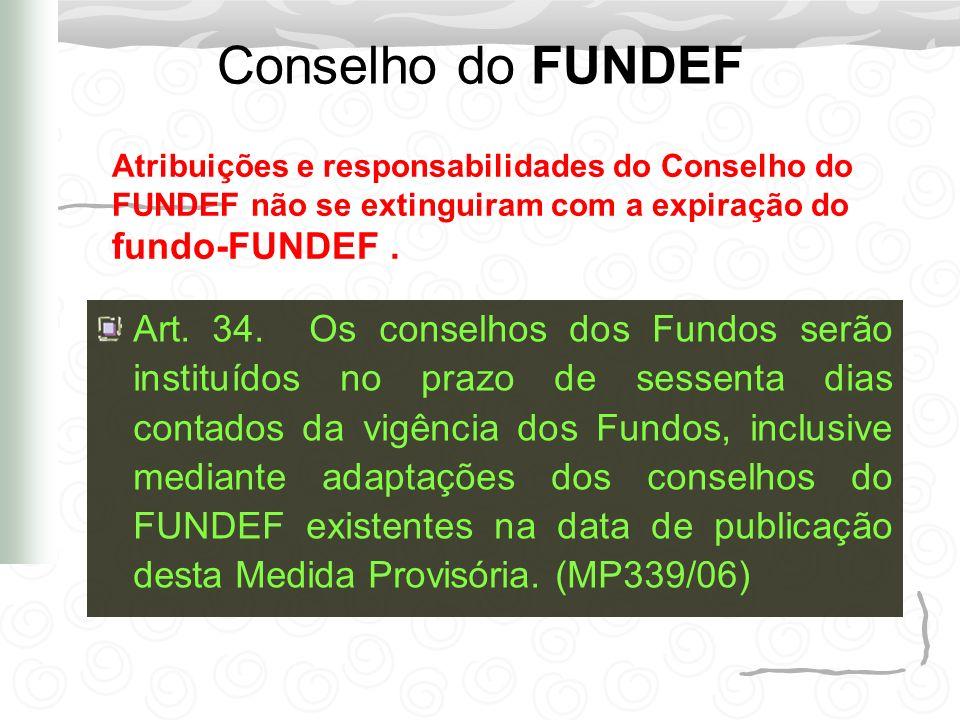 Conselho do FUNDEF Art. 34. Os conselhos dos Fundos serão instituídos no prazo de sessenta dias contados da vigência dos Fundos, inclusive mediante ad