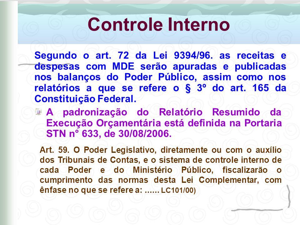 Controle Interno Art. 59. O Poder Legislativo, diretamente ou com o auxílio dos Tribunais de Contas, e o sistema de controle interno de cada Poder e d