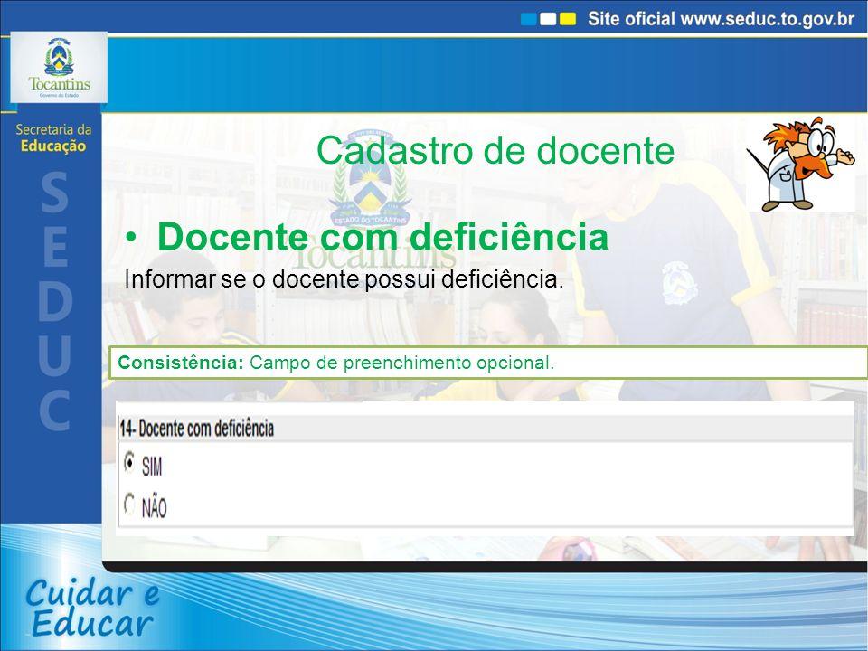 Cadastro de docente Docente com deficiência Informar se o docente possui deficiência.