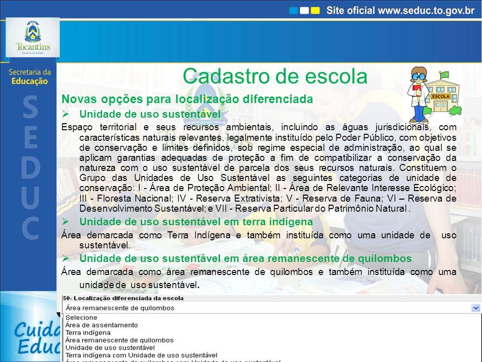 Cadastro de escola Escola cede espaço para turmas do Brasil Alfabetizado Informar se a escola cede espaço para turmas do Brasil Alfabetizado Escola abre aos finais de semana para a comunidade.