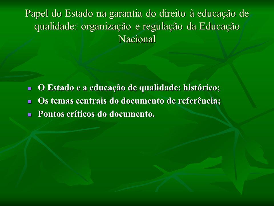 Papel do Estado na garantia do direito à educação de qualidade: organização e regulação da Educação Nacional O Estado e a educação de qualidade: histó