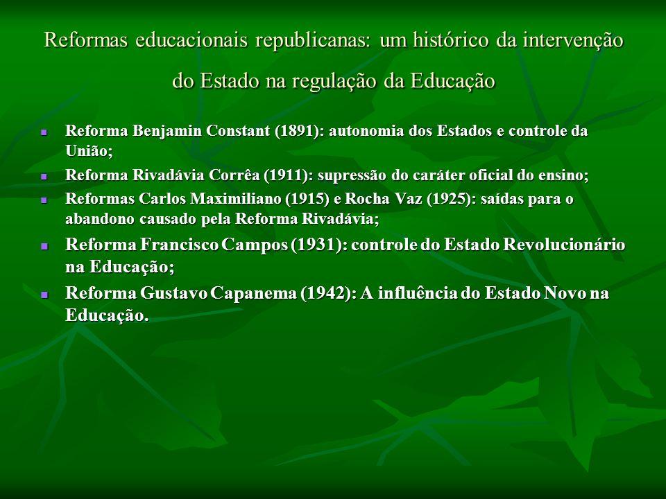 Reformas educacionais republicanas: um histórico da intervenção do Estado na regulação da Educação Reforma Benjamin Constant (1891): autonomia dos Est