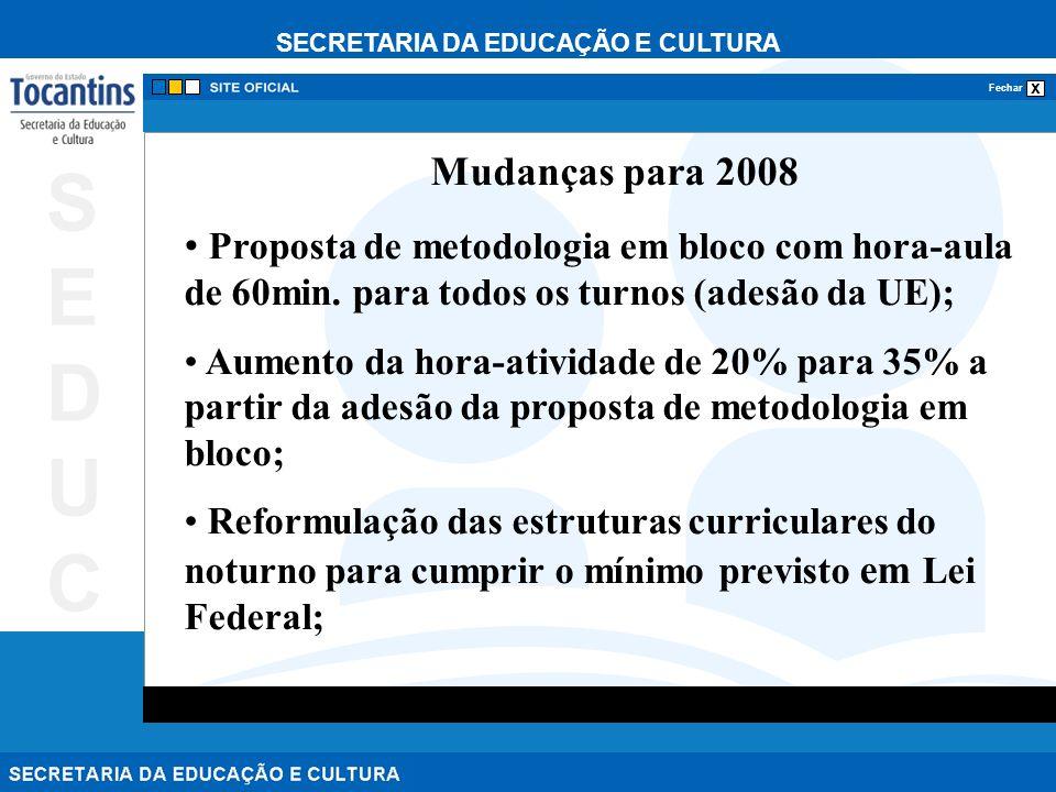 SECRETARIA DA EDUCAÇÃO E CULTURA x Fechar SEDUCSEDUC Mudanças para 2008 Proposta de metodologia em bloco com hora-aula de 60min. para todos os turnos