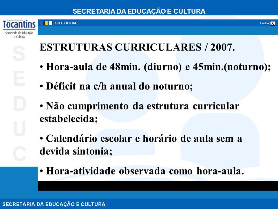 SECRETARIA DA EDUCAÇÃO E CULTURA x Fechar SEDUCSEDUC ESTRUTURAS CURRICULARES / 2007. Hora-aula de 48min. (diurno) e 45min.(noturno); Déficit na c/h an