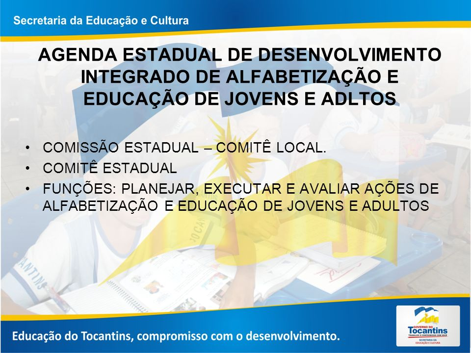 AGENDA ESTADUAL DE DESENVOLVIMENTO INTEGRADO DE ALFABETIZAÇÃO E EDUCAÇÃO DE JOVENS E ADLTOS COMISSÃO ESTADUAL – COMITÊ LOCAL.
