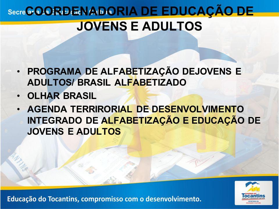 COORDENADORIA DE EDUCAÇÃO DE JOVENS E ADULTOS PROGRAMA DE ALFABETIZAÇÃO DEJOVENS E ADULTOS/ BRASIL ALFABETIZADO OLHAR BRASIL AGENDA TERRIRORIAL DE DESENVOLVIMENTO INTEGRADO DE ALFABETIZAÇÃO E EDUCAÇÃO DE JOVENS E ADULTOS