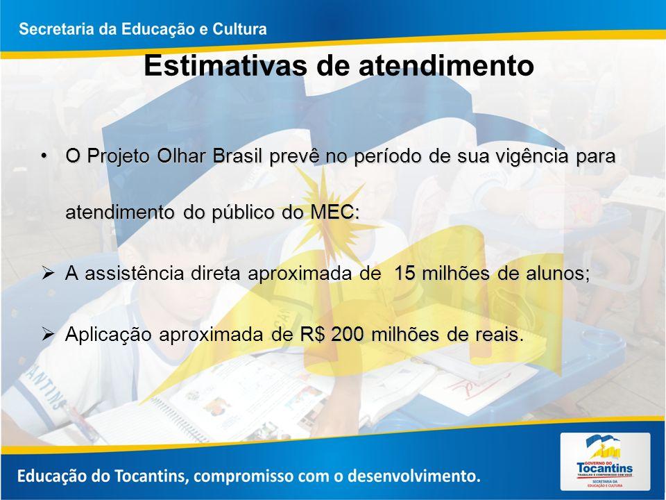 Estimativas de atendimento O Projeto Olhar Brasil prevê no período de sua vigência para atendimento do público do MEC:O Projeto Olhar Brasil prevê no período de sua vigência para atendimento do público do MEC: 15 milhões de alunos A assistência direta aproximada de 15 milhões de alunos; R$ 200 milhões de reais Aplicação aproximada de R$ 200 milhões de reais.