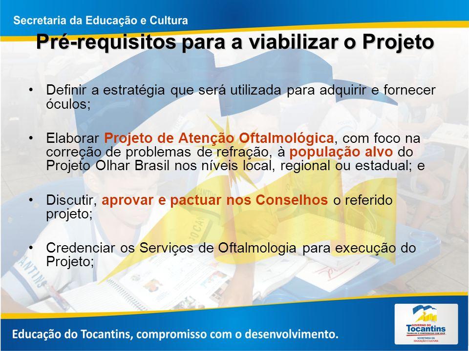 Pré-requisitos para a viabilizar o Projeto Definir a estratégia que será utilizada para adquirir e fornecer óculos; Elaborar Projeto de Atenção Oftalmológica, com foco na correção de problemas de refração, à população alvo do Projeto Olhar Brasil nos níveis local, regional ou estadual; e Discutir, aprovar e pactuar nos Conselhos o referido projeto; Credenciar os Serviços de Oftalmologia para execução do Projeto;