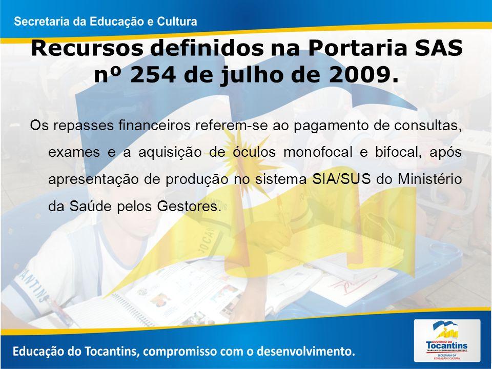 Recursos definidos na Portaria SAS nº 254 de julho de 2009.