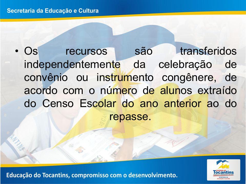 Os recursos são transferidos independentemente da celebração de convênio ou instrumento congênere, de acordo com o número de alunos extraído do Censo Escolar do ano anterior ao do repasse.