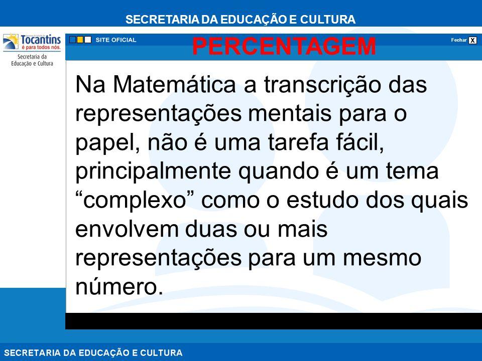 SECRETARIA DA EDUCAÇÃO E CULTURA x Fechar PERCENTAGEM Na Matemática a transcrição das representações mentais para o papel, não é uma tarefa fácil, pri