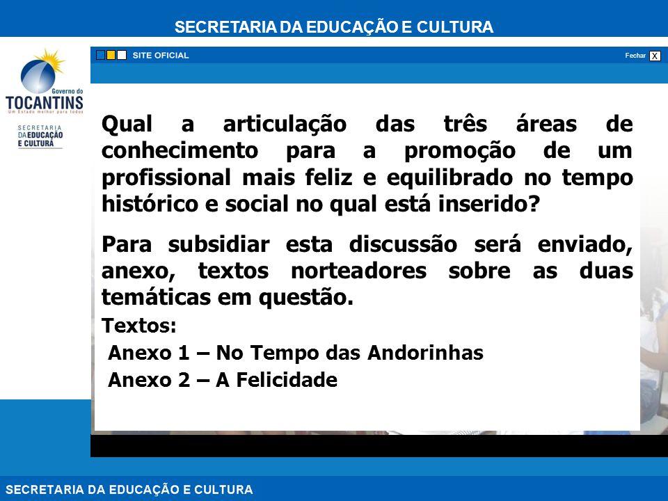 SECRETARIA DA EDUCAÇÃO E CULTURA x Fechar Qual a articulação das três áreas de conhecimento para a promoção de um profissional mais feliz e equilibrad