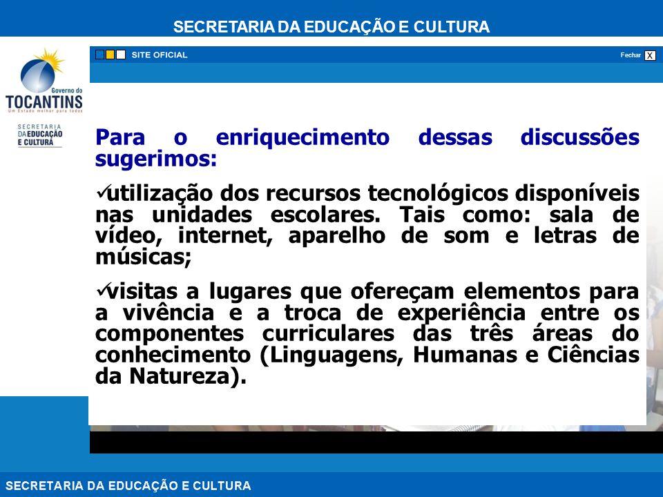 SECRETARIA DA EDUCAÇÃO E CULTURA x Fechar Para o enriquecimento dessas discussões sugerimos: utilização dos recursos tecnológicos disponíveis nas unid