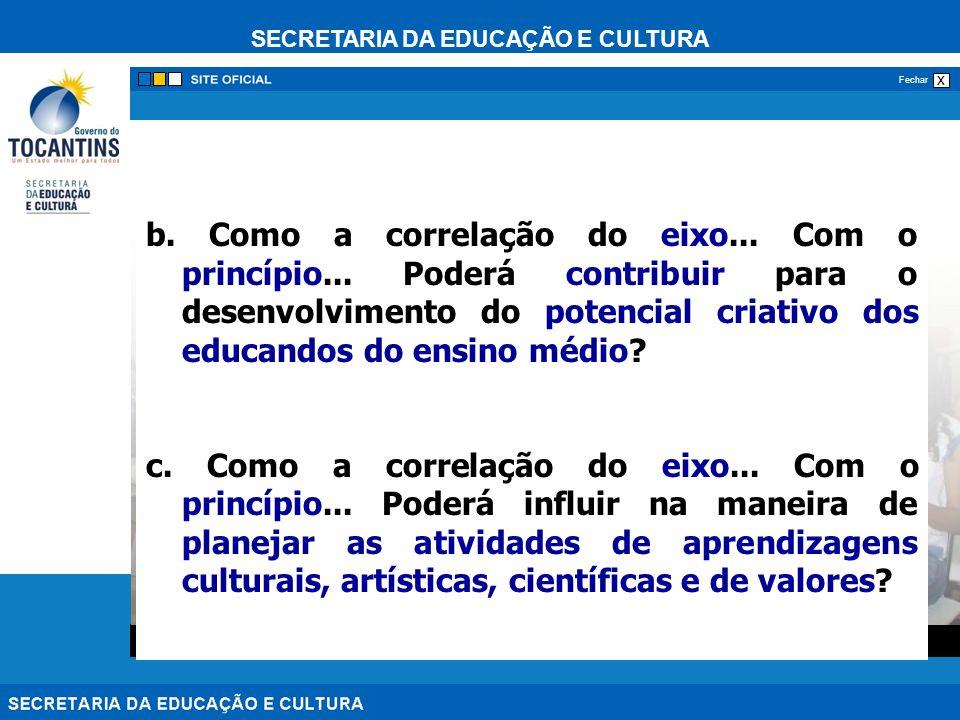 SECRETARIA DA EDUCAÇÃO E CULTURA x Fechar b. Como a correlação do eixo... Com o princípio... Poderá contribuir para o desenvolvimento do potencial cri