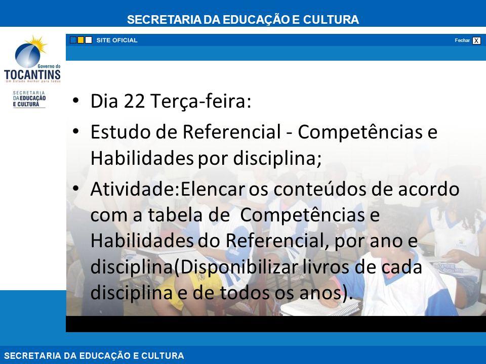 SECRETARIA DA EDUCAÇÃO E CULTURA x Fechar Dia 22 Terça-feira: Estudo de Referencial - Competências e Habilidades por disciplina; Atividade:Elencar os
