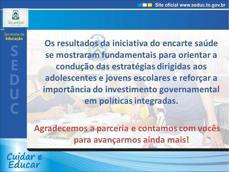 Os resultados da iniciativa do encarte saúde se mostraram fundamentais para orientar a condução das estratégias dirigidas aos adolescentes e jovens escolares e reforçar a importância do investimento governamental em políticas integradas.