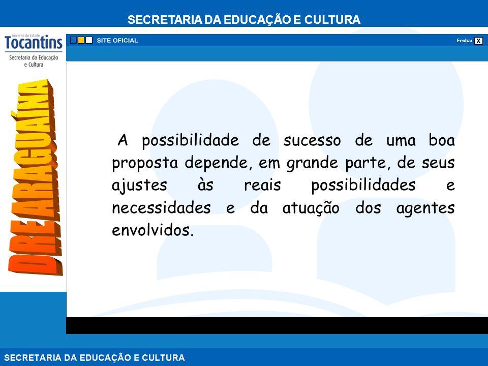 SECRETARIA DA EDUCAÇÃO E CULTURA x Fechar A possibilidade de sucesso de uma boa proposta depende, em grande parte, de seus ajustes às reais possibilidades e necessidades e da atuação dos agentes envolvidos.