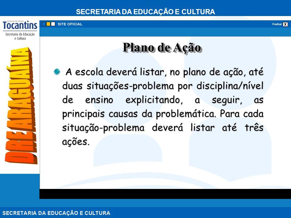 SECRETARIA DA EDUCAÇÃO E CULTURA x Fechar A escola deverá listar, no plano de ação, até duas situações-problema por disciplina/nível de ensino explicitando, a seguir, as principais causas da problemática.