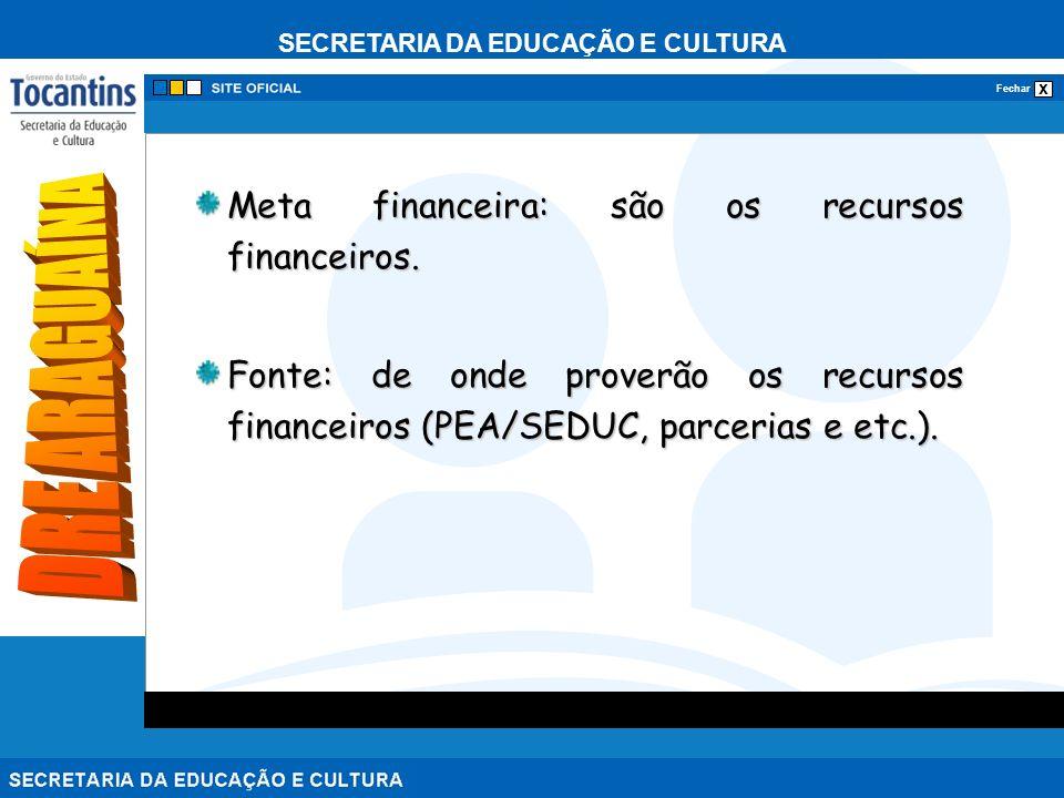 SECRETARIA DA EDUCAÇÃO E CULTURA x Fechar Meta financeira: são os recursos financeiros.