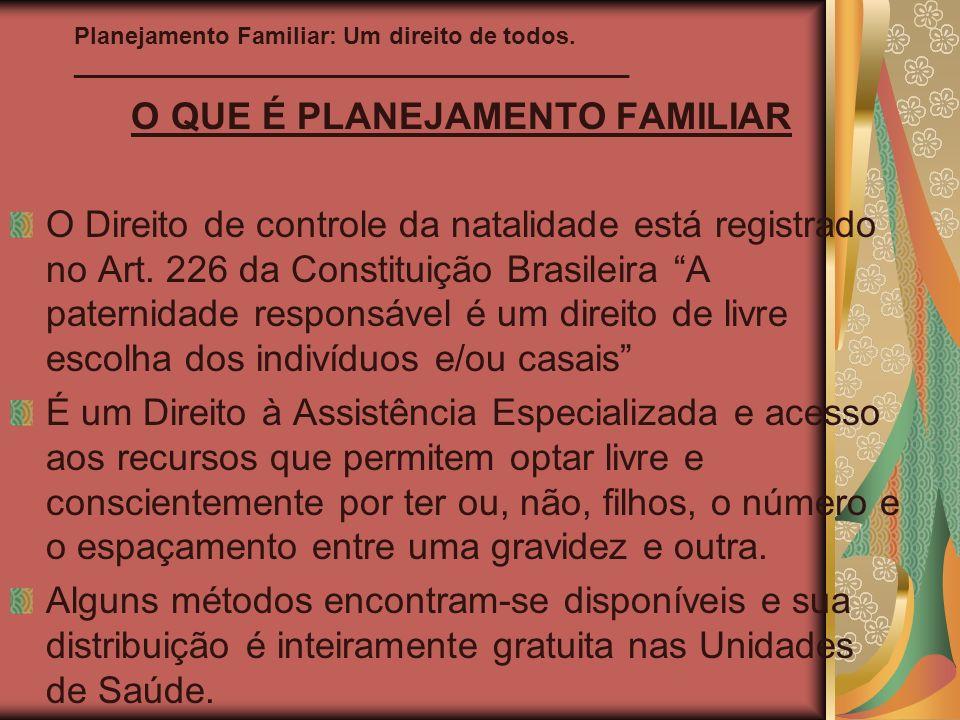 Planejamento Familiar: Um direito de todos. __________________________________________ O QUE É PLANEJAMENTO FAMILIAR O Direito de controle da natalida