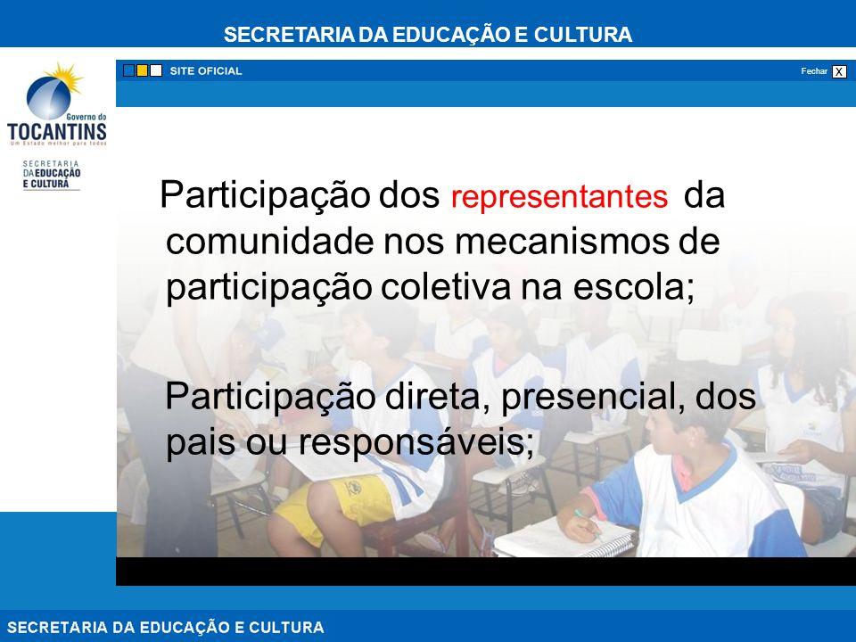SECRETARIA DA EDUCAÇÃO E CULTURA x Fechar Participação dos representantes da comunidade nos mecanismos de participação coletiva na escola; Participação direta, presencial, dos pais ou responsáveis;