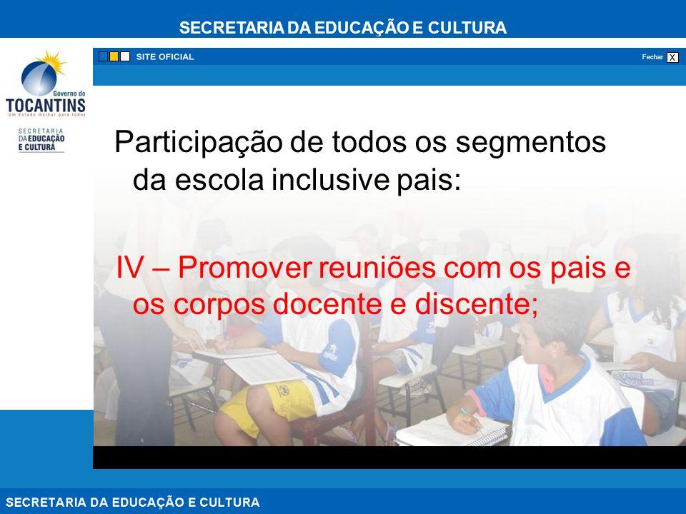 SECRETARIA DA EDUCAÇÃO E CULTURA x Fechar Participação de todos os segmentos da escola inclusive pais: IV – Promover reuniões com os pais e os corpos docente e discente;