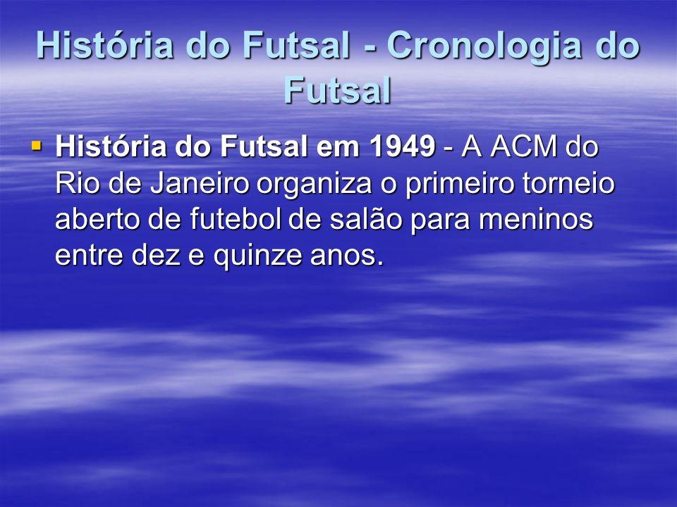 História do Futsal - Cronologia do Futsal História do Futsal em 1949 - A ACM do Rio de Janeiro organiza o primeiro torneio aberto de futebol de salão