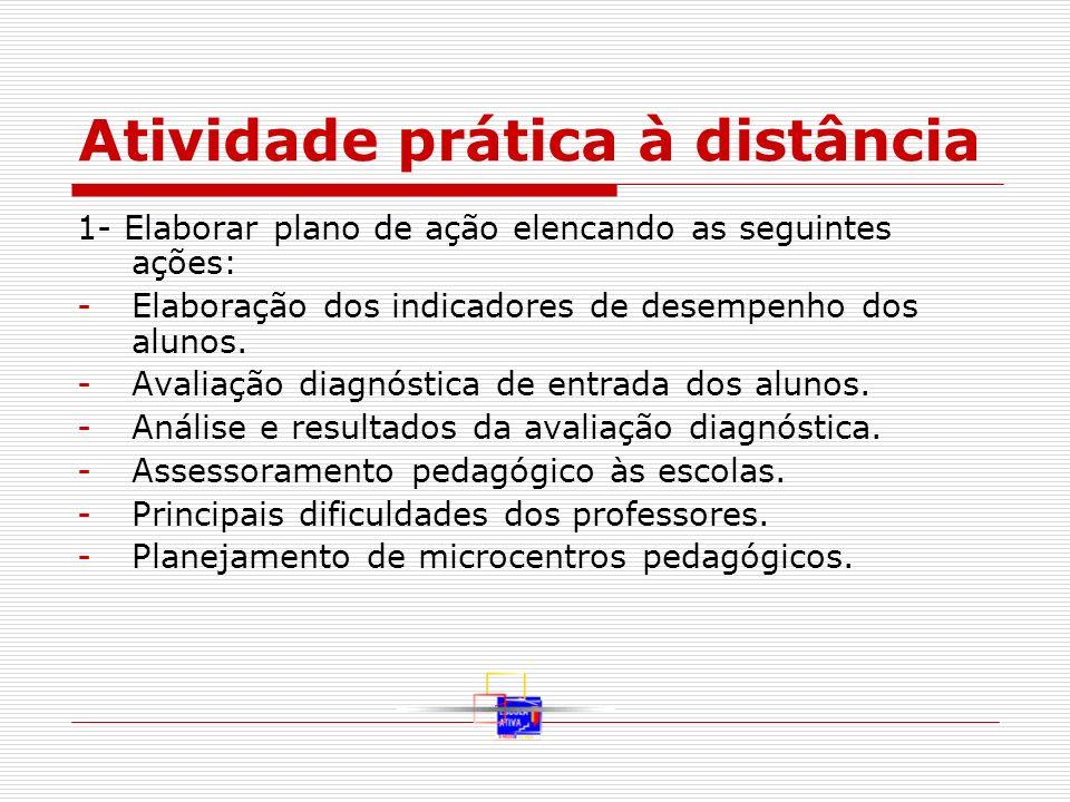 Atividade prática à distância 1- Elaborar plano de ação elencando as seguintes ações: -Elaboração dos indicadores de desempenho dos alunos. -Avaliação