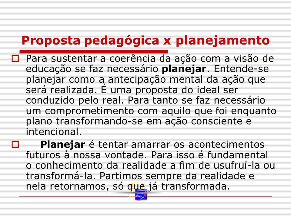 Proposta pedagógica x planejamento Para sustentar a coerência da ação com a visão de educação se faz necessário planejar. Entende-se planejar como a a