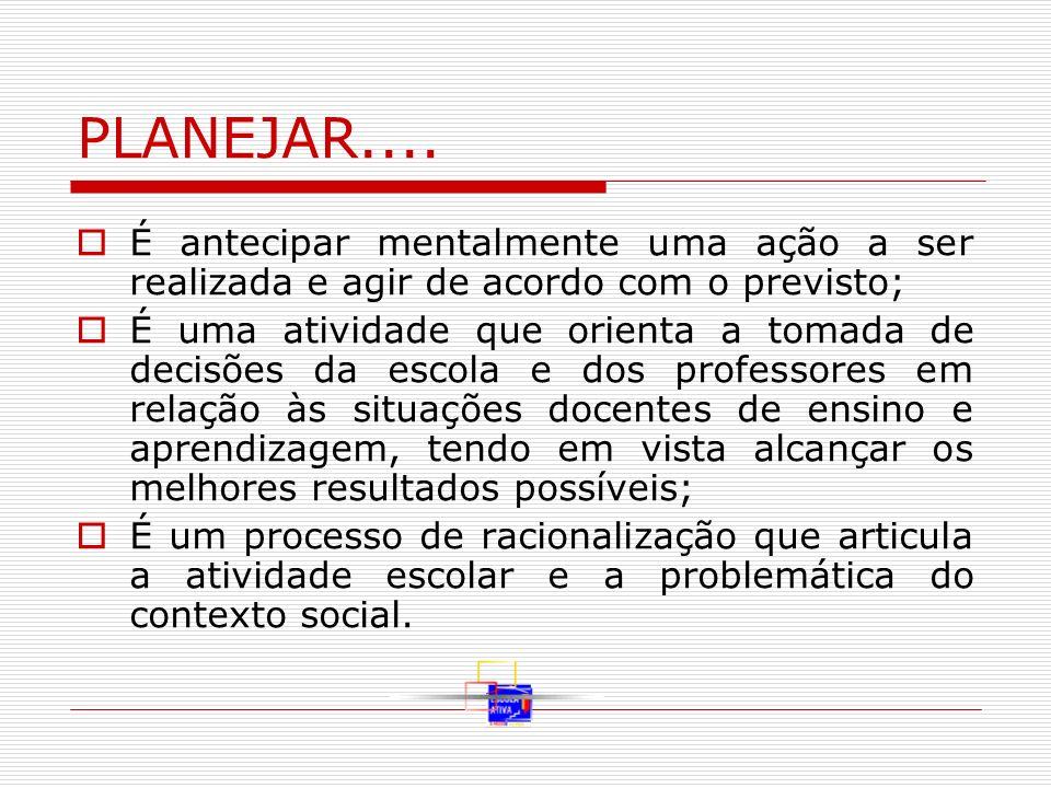 PLANEJAR.... É antecipar mentalmente uma ação a ser realizada e agir de acordo com o previsto; É uma atividade que orienta a tomada de decisões da esc