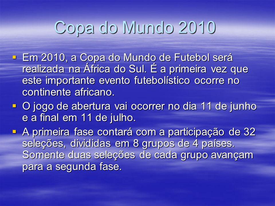 Copa do Mundo 2010 Copa do Mundo 2010 Em 2010, a Copa do Mundo de Futebol será realizada na África do Sul.