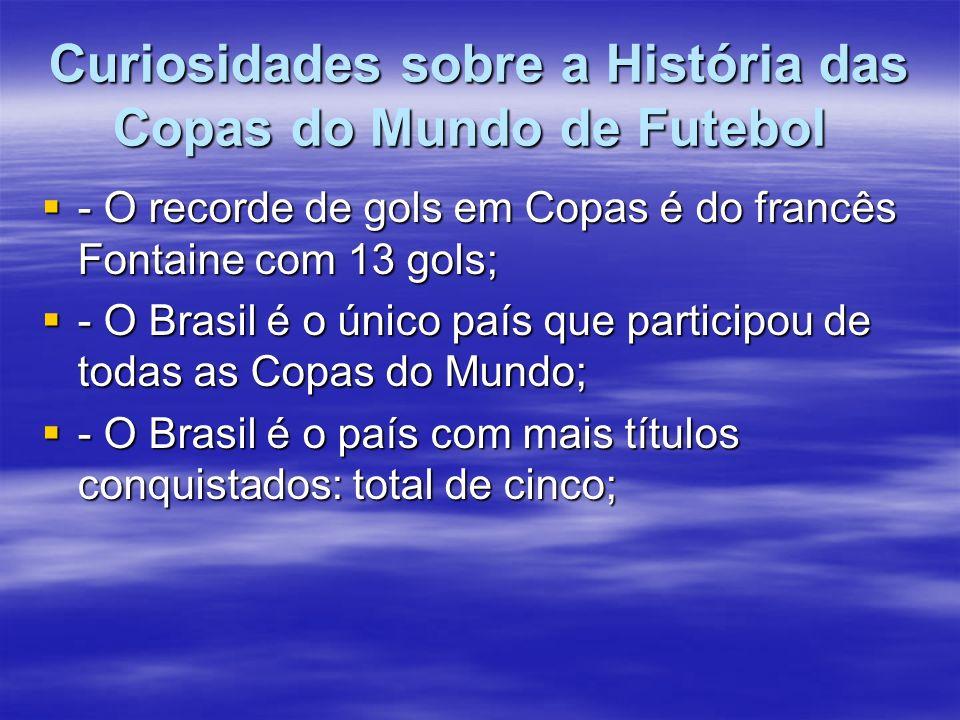 Curiosidades sobre a História das Copas do Mundo de Futebol Curiosidades sobre a História das Copas do Mundo de Futebol - O recorde de gols em Copas é do francês Fontaine com 13 gols; - O recorde de gols em Copas é do francês Fontaine com 13 gols; - O Brasil é o único país que participou de todas as Copas do Mundo; - O Brasil é o único país que participou de todas as Copas do Mundo; - O Brasil é o país com mais títulos conquistados: total de cinco; - O Brasil é o país com mais títulos conquistados: total de cinco;