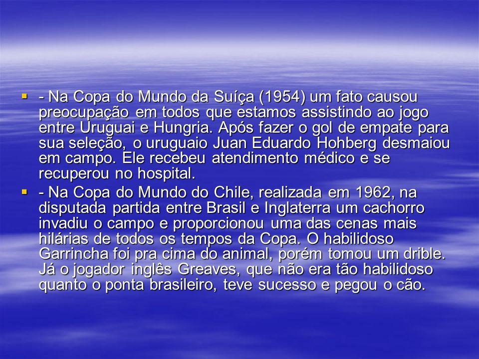 - Na Copa do Mundo da Suíça (1954) um fato causou preocupação em todos que estamos assistindo ao jogo entre Uruguai e Hungria.