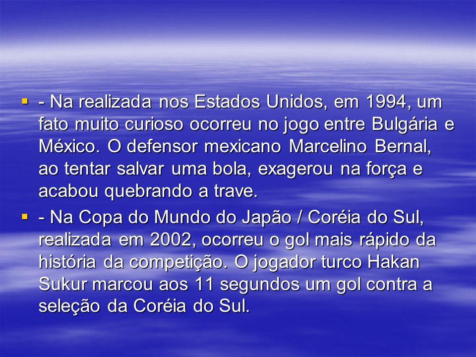 - Na realizada nos Estados Unidos, em 1994, um fato muito curioso ocorreu no jogo entre Bulgária e México.