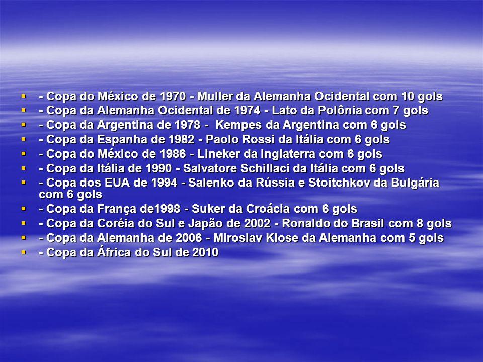 - Copa do México de 1970 - Muller da Alemanha Ocidental com 10 gols - Copa do México de 1970 - Muller da Alemanha Ocidental com 10 gols - Copa da Alemanha Ocidental de 1974 - Lato da Polônia com 7 gols - Copa da Alemanha Ocidental de 1974 - Lato da Polônia com 7 gols - Copa da Argentina de 1978 - Kempes da Argentina com 6 gols - Copa da Argentina de 1978 - Kempes da Argentina com 6 gols - Copa da Espanha de 1982 - Paolo Rossi da Itália com 6 gols - Copa da Espanha de 1982 - Paolo Rossi da Itália com 6 gols - Copa do México de 1986 - Lineker da Inglaterra com 6 gols - Copa do México de 1986 - Lineker da Inglaterra com 6 gols - Copa da Itália de 1990 - Salvatore Schillaci da Itália com 6 gols - Copa da Itália de 1990 - Salvatore Schillaci da Itália com 6 gols - Copa dos EUA de 1994 - Salenko da Rússia e Stoitchkov da Bulgária com 6 gols - Copa dos EUA de 1994 - Salenko da Rússia e Stoitchkov da Bulgária com 6 gols - Copa da França de1998 - Suker da Croácia com 6 gols - Copa da França de1998 - Suker da Croácia com 6 gols - Copa da Coréia do Sul e Japão de 2002 - Ronaldo do Brasil com 8 gols - Copa da Coréia do Sul e Japão de 2002 - Ronaldo do Brasil com 8 gols - Copa da Alemanha de 2006 - Miroslav Klose da Alemanha com 5 gols - Copa da Alemanha de 2006 - Miroslav Klose da Alemanha com 5 gols - Copa da África do Sul de 2010 - Copa da África do Sul de 2010