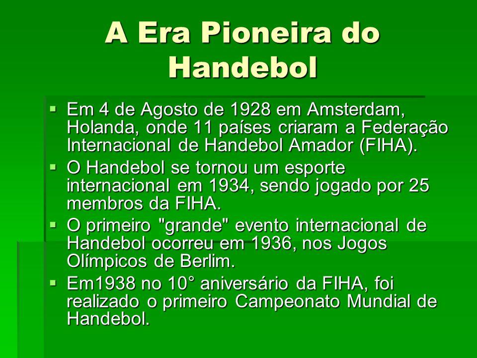 A Era Pioneira do Handebol Em 4 de Agosto de 1928 em Amsterdam, Holanda, onde 11 países criaram a Federação Internacional de Handebol Amador (FIHA). E