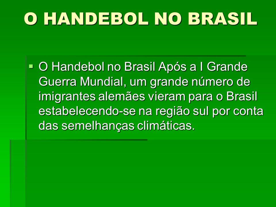 O HANDEBOL NO BRASIL O Handebol no Brasil Após a I Grande Guerra Mundial, um grande número de imigrantes alemães vieram para o Brasil estabelecendo-se