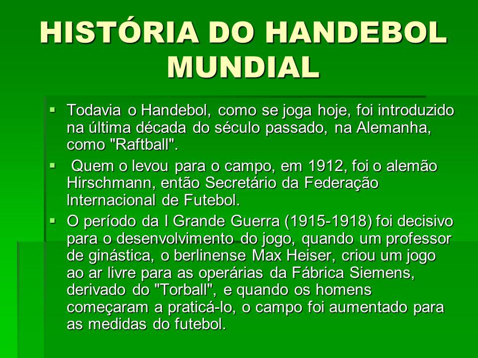 HISTÓRIA DO HANDEBOL MUNDIAL Todavia o Handebol, como se joga hoje, foi introduzido na última década do século passado, na Alemanha, como