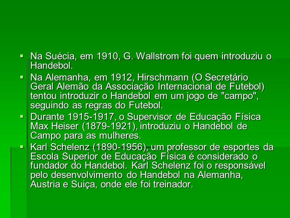 Na Suécia, em 1910, G. Wallstrom foi quem introduziu o Handebol. Na Suécia, em 1910, G. Wallstrom foi quem introduziu o Handebol. Na Alemanha, em 1912