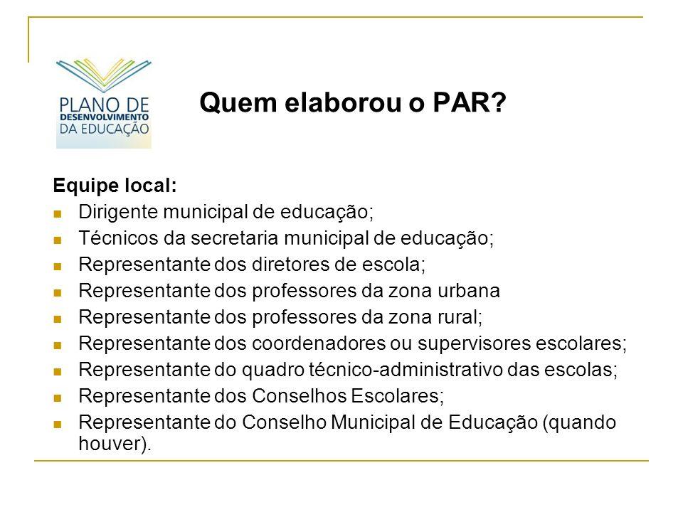 Algumas Recomendações: A realização do diagnóstico, bem como a elaboração do PAR é de caráter participativo e tem por objetivo promover uma análise compartilhada da situação educacional na rede municipal.