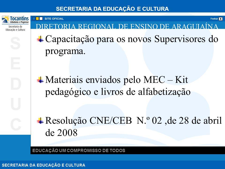 SECRETARIA DA EDUCAÇÃO E CULTURA x Fechar EDUCAÇÃO UM COMPROMISSO DE TODOS SEDUCSEDUC DIRETORIA REGIONAL DE ENSINO DE ARAGUIAÍNA Capacitação para os novos Supervisores do programa.