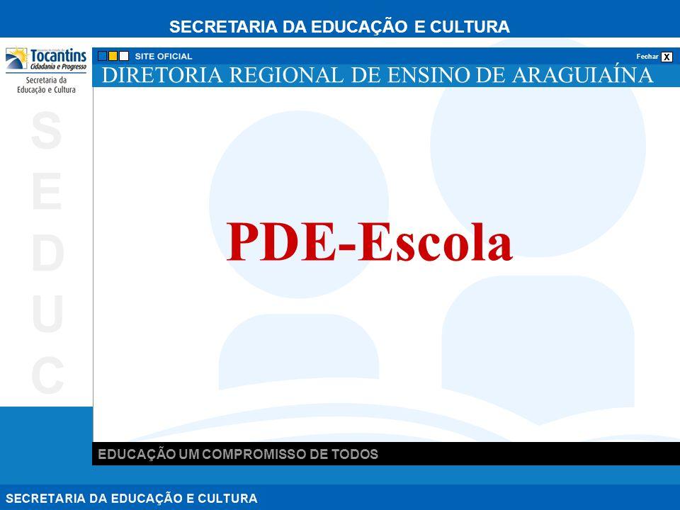 SECRETARIA DA EDUCAÇÃO E CULTURA x Fechar EDUCAÇÃO UM COMPROMISSO DE TODOS SEDUCSEDUC DIRETORIA REGIONAL DE ENSINO DE ARAGUIAÍNA PDE-Escola
